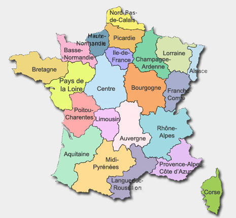 departments of france map. Regions of France Map Auverne,